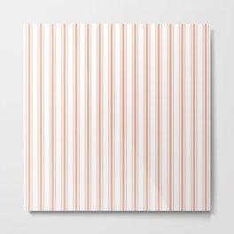 Large Shell Coral Peach Orange Mattress Ticking Stripes Metal Print