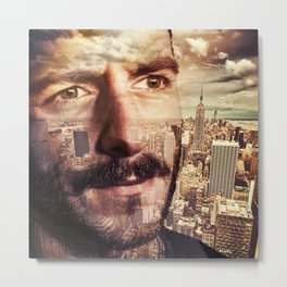 Double exposure portrait in nyc Metal Print