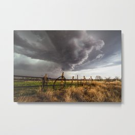 Western Life - Barbed Wire and Storm on the Ranch Metal Print