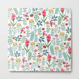 Flowers Seamless Pattern Metal Print