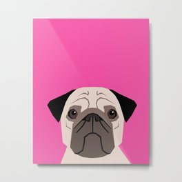 Taylor - Pug dog art phone case for pet lovers and dog people Metal Print
