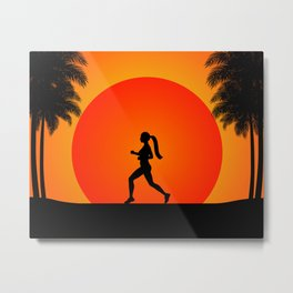 Running woman in the beach Metal Print