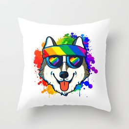 Happy Husky Showing Some Rainbow Love Throw Pillow