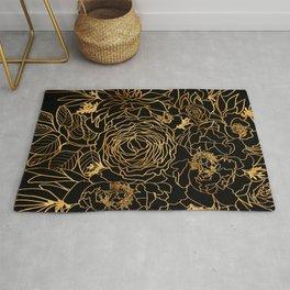 Nanette line art floral bouquet in gold and black (2) Rug