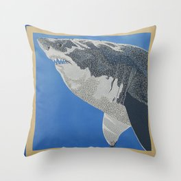 Fool Like You For Breakfast- Great White Shark Throw Pillow