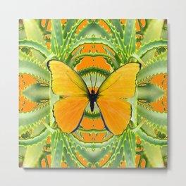 GOLDEN BUTTERFLY GREEN ALOE CACTUS PATTERN ART Metal Print