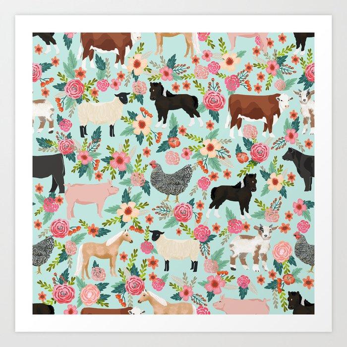 Farm animal sanctuary pig chicken cows horses sheep floral pattern gifts Kunstdrucke