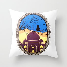 Indian cat view Throw Pillow