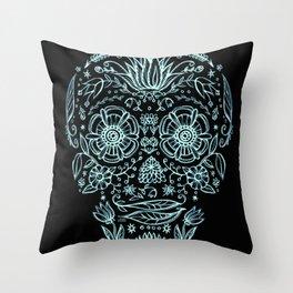 Garden Sugar Skull Throw Pillow