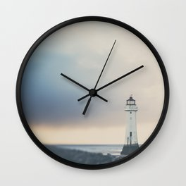 the lights will guide you home ... lighthouse photograph Wall Clock