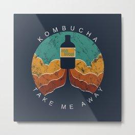 "KOMBUCHA ""Take Me Away"" Rocket // Mushroom Tea Graphic Design Scoby Health Drink Bubble Scooby Metal Print"