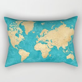 """Detailed wold map with zodiac constellations, """"Lexy"""" Rectangular Pillow"""