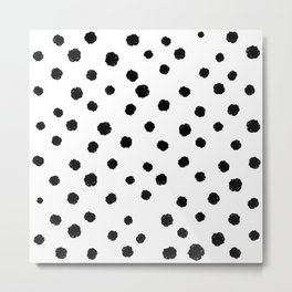 Hand-Drawn Dots (Black & White Pattern) Metal Print