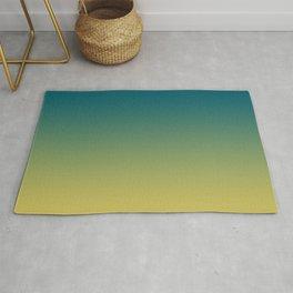 Tropical Dark Teal Gradient Inspired by Sherwin Williams 2020 Trending Color Oceanside SW6496 on Dark Yellow Rug