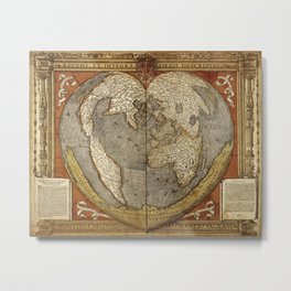 Heart-shaped projection map Metal Print