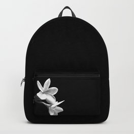 White Flowers Black Background Backpack