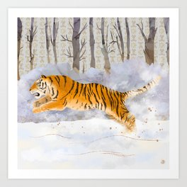 The Siberian Tiger Running in the Snow Art Print