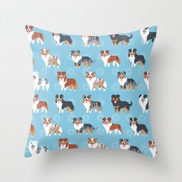 Aussie Shepherds Throw Pillow