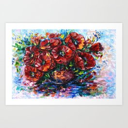 Red Poppies In A Vase Painting with Palette Knife Art Print