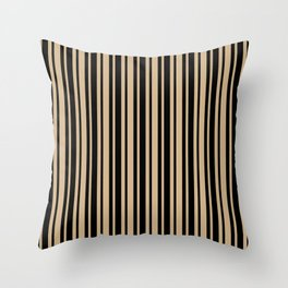 Tan Brown and Black Vertical Var Size Stripes Throw Pillow