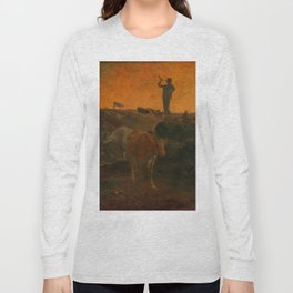 """Jean-François Millet """"Calling Home the Cows"""" oil on wood Long Sleeve T-shirt"""