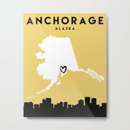 ANCHORAGE ALASKA LOVE CITY SILHOUETTE SKYLINE ART Metal Print