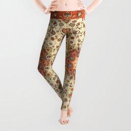 N71 - Orange Antique Heritage Traditional Moroccan Style Mandala Artwork Leggings