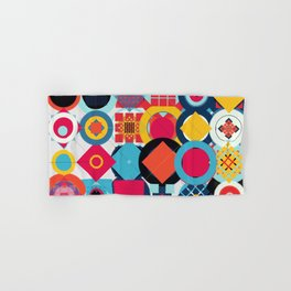 Geometric Abstract Colorful Art Retro Pattern Hand & Bath Towel
