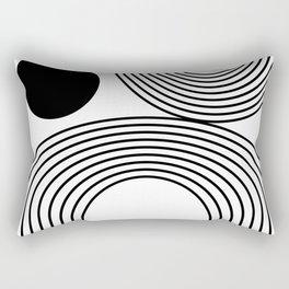 Modern Minimalist Line Art in Black and White Rectangular Pillow
