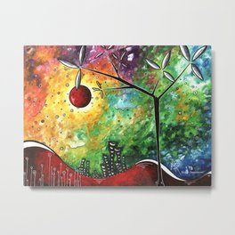 A New World Abstract Landscape Tree Painting Funky Houses Art by Megan Duncanson MADART Metal Print