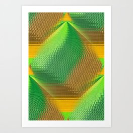 Green and Gold Abstract Art Print