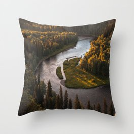 Nordic Forest River Throw Pillow