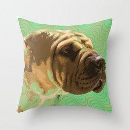 Shar Pei Waves Throw Pillow