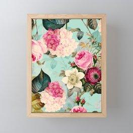 Vintage & Shabby Chic - Summer Teal Roses Flower Garden Framed Mini Art Print