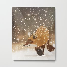 Sneaky smart fox in snowy forest winter snowflakes drawing Metal Print