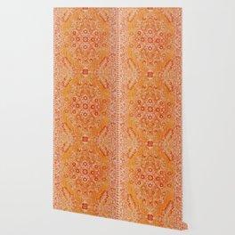 N78 - Orange Antique Oriental Berber Moroccan Style Carpet Design. Wallpaper