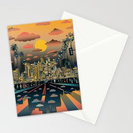 los angeles city skyline Stationery Cards