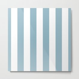 Large Baby Blue and White Vertical Cabana Tent Stripes Metal Print
