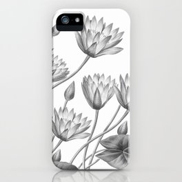 Water Lily Black And White iPhone Case
