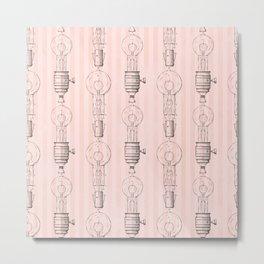 Vintage Light Bulbs Neck Gator Line Art Light Bulb Metal Print