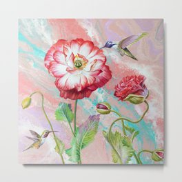 Light  Etude with poppies and hummingbirds Metal Print