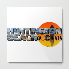 Huntington Beach California Big Letter with Sun Metal Print