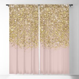 Pink and Gold Glitter Blackout Curtain