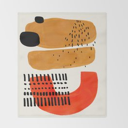 Mid Century Modern Abstract Minimalist Retro Vintage Style Fun Playful Ochre Yellow Ochre Orange  Throw Blanket