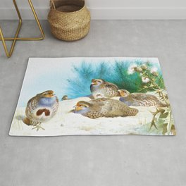 Archibald Thorburn - English partridge with gorse and thistles - Digital Remastered Edition Rug