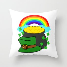 Pot Of Gold Hat And Rainbow Clover St Patricks Day Throw Pillow