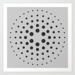 Mid-Century Modern Art - Spiral Dots Black & Grey Art Print