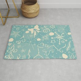 Winter Background with hand drawn snowflakes Rug