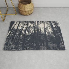 Aspen Forest in Black and White Photography Print Rug