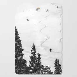 Backcountry Skier // Fresh Powder Snow Mountain Ski Landscape Black and White Photography Vibes Cutting Board